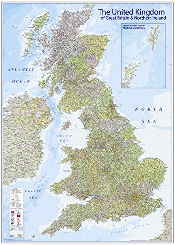 Close Up Póster Mapa del Reino Unido 2020 - The United Kingdom MAPS IN MINUTESÙ (140cm x 100cm)