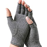 Compression Support Gloves Fingerless Gloves for Arthritis Providing Warmth and Compression to Help Increase Circulation Reducing Pain for Women and Men (Grey, L)