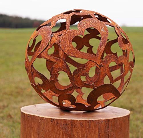 Edelrost Kugel Herzen 30 cm Deko - Kugel Gartendekoration Handarbeit