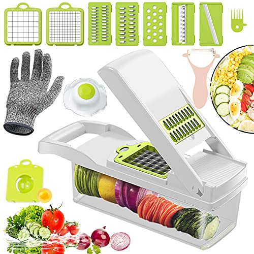 Vegetable Chopper Slicer Dicer and Grater 13 in 1 Vegetable Chopper Dicer Slicer Cutter for Onion Potato Tomato Cheese Salad Fruits - White