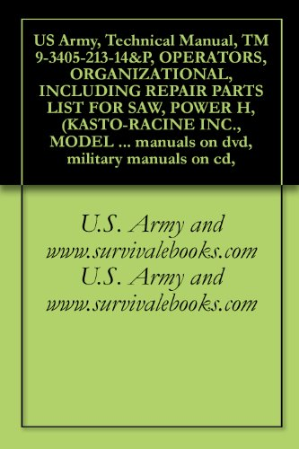 US Army, Technical Manual, TM 9-3405-213-14&P, OPERATORS, ORGANIZATIONAL, INCLUDING REPAIR PARTS LIST FOR SAW, POWER H, (KASTO-RACINE INC., MODEL 1010), ... military manuals on cd, (English Edition)