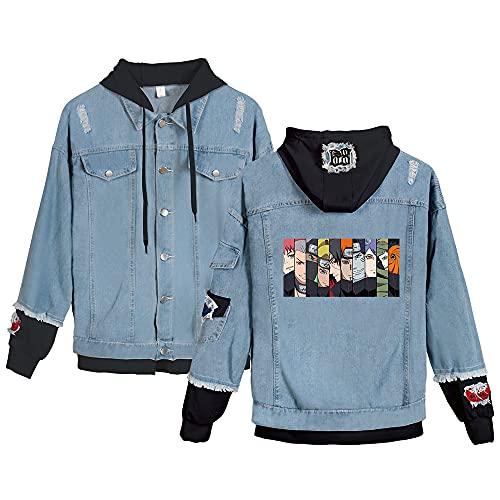 JDSWAN Chaqueta de Unisex Naruto Sudaderas con Capucha Impresión de Anime Naruto Uzumaki Manga Larga Jeans Sweatshirt Abrigo Adulto Cosplay para Hombre Mujeres