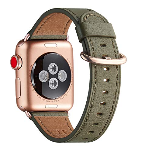WFEAGL Kompatibel für Watch Armband 38mm 40mm 42mm 44mm,Top Grain Lederband Ersatzband mit Edelstahl-Verschluss Kompatibel für Serie 5/4/3/2/1 (42mm 44mm, Olivgrün/RoséGold Adapter)
