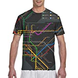 Men's 3D Printing New York Subway Map T-Shirt, Short Sleeve Crewneck Undershirt Regular-Fit Workwear for Holiday Running Workout, Fast Dry/Sweatproof