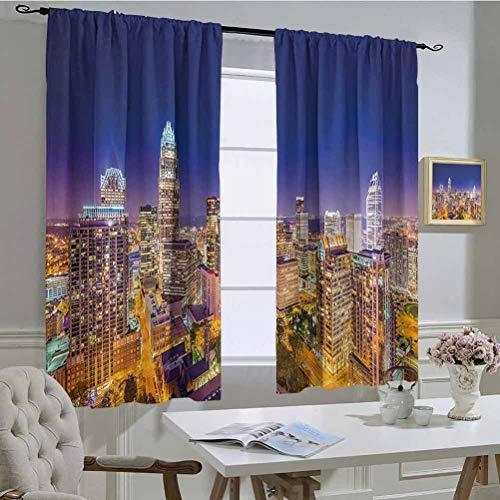 hengshu Wide Tap Bathroom curtainPanoramic North Carolina Uptown Sky at Night Cityscape Luminous Town Picturedrapesfor Bedroom Blackout 2 panelIndigo OrangeW42 x L84 Inch per Panel