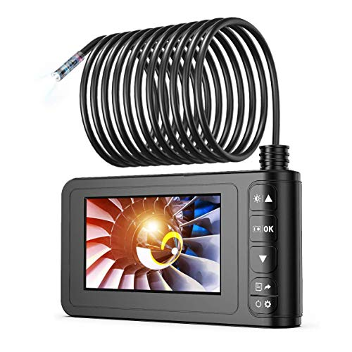 Industrial Endoscope 33FT, SKYBASIC 1080P HD 8mm Digital Borescope Camera Waterproof 4.3 Inch LCD Screen Snake Camera Video Inspection Camera with 6 LED Lights, Semi-Rigid Cable, 32GB TF Card and Tool
