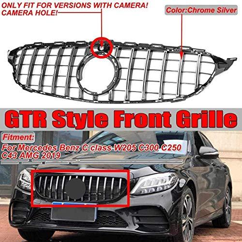HYNB GTR GT Grill Auto Frontgrill Voor Mercedes Benz C Klasse W205 C300 C250 C43 2019+ Met Camera, Zwart, Zilver