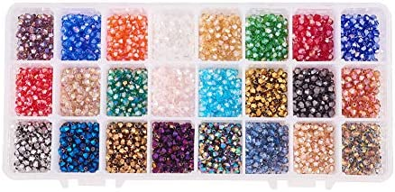 PandaHall Elite 2400 pcs 24 Colors Electroplate Glass Beads Faceted Bicone Glass Crystal Beads product image