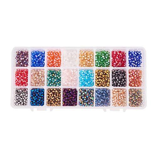 PandaHall Elite Cuentas de Cristal galvanizado Rondelle facetadas para Hacer Joyas, 24 Colores: 2496 Unidades, 4 mm