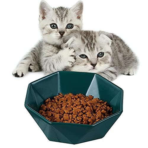 Futternäpfe Katzenfutter - Keramik Kippschale für Katzen,Schutz der Katzenwirbelsäule,Stressfrei,Rückflussverhütung,Komfort-Fütterungsschalen für kleine Hunde und Katzen (Grün)