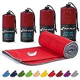 Fit-Flip Toalla Microfibra – en Todos los tamaños / 16 Colores – Ultraligera y compacta – Toalla Secado rapido – Toalla Playa Microfibra y Toalla Deporte Gimnasio (100x200cm Rojo - Borde Gris)