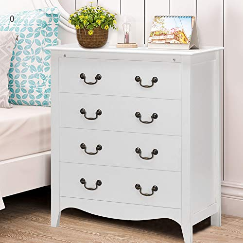 WATERJOY 4-Drawer Chest Dresser Storage Cabinet, Bedroom Nightstand End Side Dress (33.5''Lx 17.5''W x 38''H)