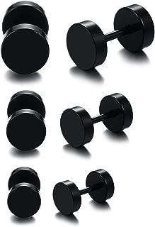 3 Pairs Black Stainless Steel Polished Simple Fake Plugs Dumbbell Shape Piecing Screw Stud Earrings for Men