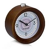 Navaris Despertador analógico - Reloj Redondo de Madera Natural con luz - Despertador silencioso con Alarma - marrón Oscuro diseño de Sol hindú