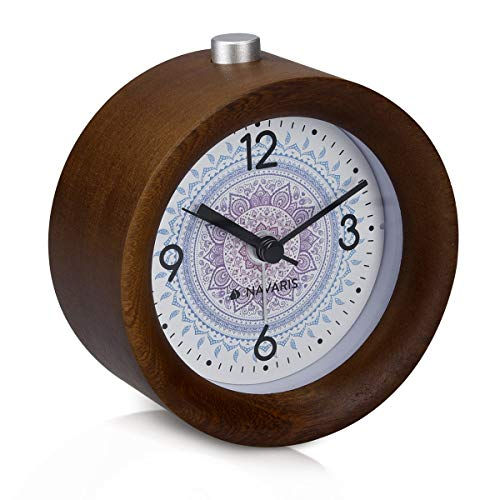 Navaris Analogue Wooden Alarm Clock - Round Battery-Powered Real Wood Bedside Table Clock with Design, Snooze, Light - Dark Brown, Indian Sun