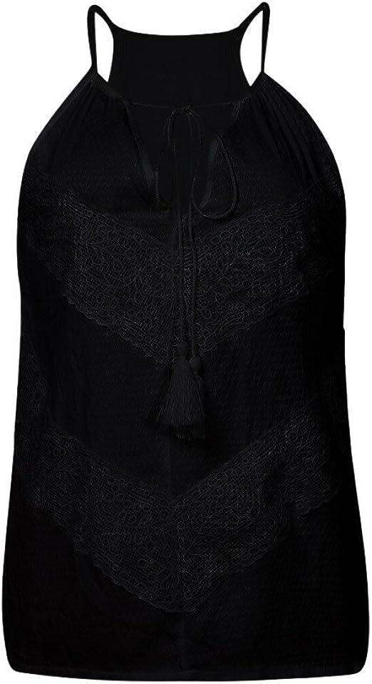 LANSKIRT_Blusa Camisas Mujer Fiesta Mujer de Vestir Chaleco de Encaje sin Mangas Camisa de Color Liso Tops de Encaje Blusa con Cuello de Pico Camisas ...