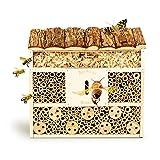 bambuswald© Hotel Insetti, Casetta per Insetti in Legno per Esterno, Bee Hotel, Casetta per Insetti impollinatori, 29,5 x 10 x 28,5 cm