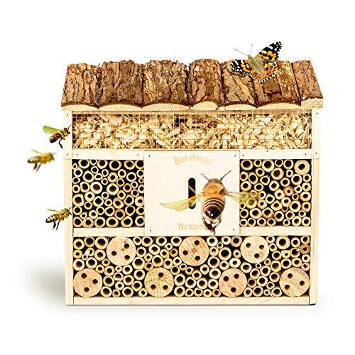 bambuswald© Hotel de Insectos con 3 Pisos y casa de Mariposas|Casa para Abejas de Madera y bambú -29,5 x 10 x 28,5 cm|Refugio para Insectos Protección de Especies en tu jardín