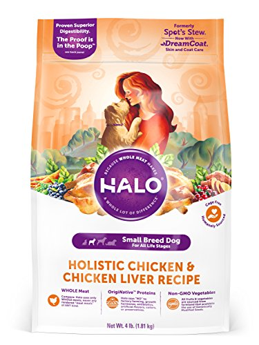 Halo Natural Dry Dog Food, Small Breed Chicken & Chicken Liver...
