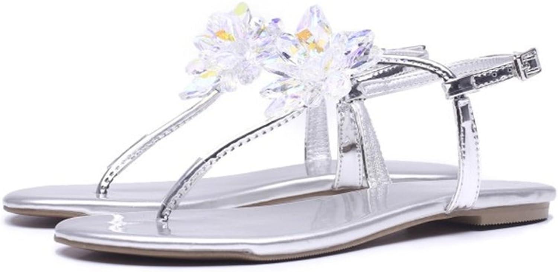 Wagsiyi Wagsiyi Wagsiyi Sandalen Dicke Stiefel Strasssteine verziert Elegante Leder Damen Sandalen Platform Wedge Sandalen (Farbe   Silber, Größe   39 1 3 EU)  ce003a