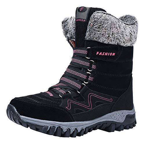 ADOSSAC Bottines de Neige Femmes Filles, Chaussures Ville Hiver Fourrure Bottes de Pluie Après Ski Imperméable Boots Fourrée Chaude pour Randonnée Pieds Larges