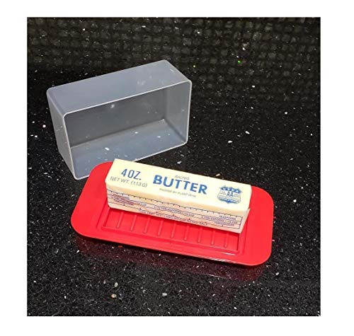 Standard Butter Dish Red Base Smoked Clear Top