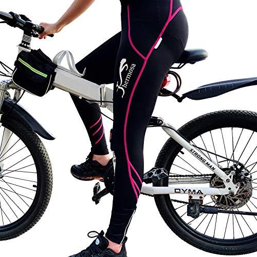 Shermosa Fahrradhose Damen Lang Gepolstert Radhose Damen Lang mit Polster Radlerhose mit Sitzpolster MTB Bikehose für Damen Schwarzßrosa EU 2XL