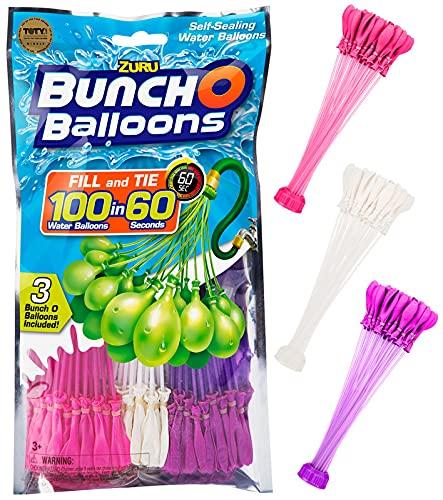 SHS-Yard ZURU Bunch O Balloons - 105 Stück / 100 in 60 Sekunden / selbstschließend / WASSERBALLONS / 3 Bündel á 35 Wasserbomben / Water Balloons Seal / SELF Seal / Girls