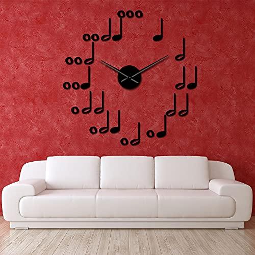 Rgzqrq Simple 3D acrílico Notas Musicales Reloj de Pared de Bricolaje diseño Moderno Tema de la música Arte de la Pared decoración Etiqueta engomada del Coche Reloj 37 Pulgadas