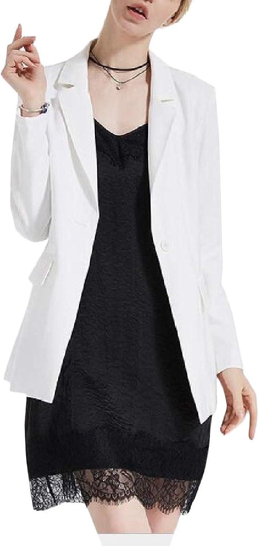 SweatwaterCA Womens Casual Coat Formal One Button Slim Fit Blazer Jackets