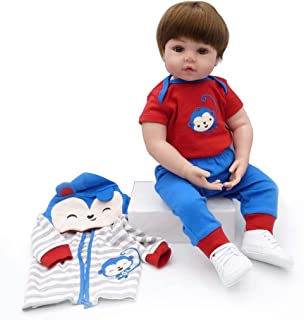 Mopoq Reborn Baby Dolls Handmade Simulation Vinyl Soft Silicone Boy Doll Baby For Favorite Christmas Birthday Gift