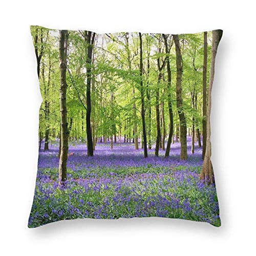 Harla Purple Haze Bluebell Wood Velvet Soft Decorative Square Throw Pillow Case Cushion Cover Pillowcase for Livingroom Sofa Bedroom with Invisible Zipper 20x20 Inches