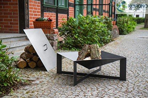 Froschkönig24 Feuerschale Stahlgrau mit Deckel