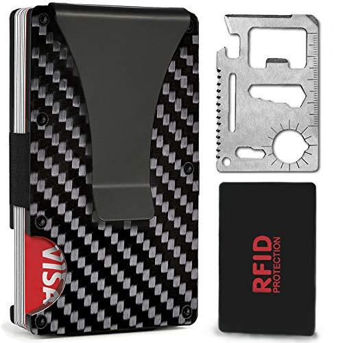 Minimalist Carbon Fiber Wallet, HEMIX Front Pocket Slim Wallet - Mens Fibre Business Wallet - RFID Blocking - Metal Card Holder for Man