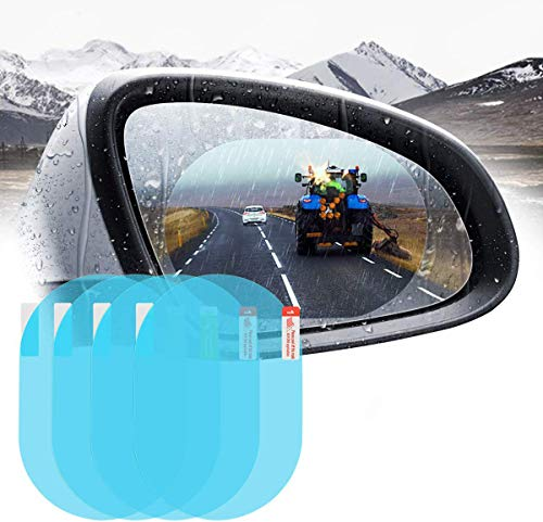 """Emoly 4 PCS Car Rearview Mirror Protective Film, Universal HD Clear Rainproof Film Anti Glare Anti Fog Waterproof Film for Car Mirrors & Side Windows, Safe Driving,Oval (5.9"""" x 3.9"""")"""