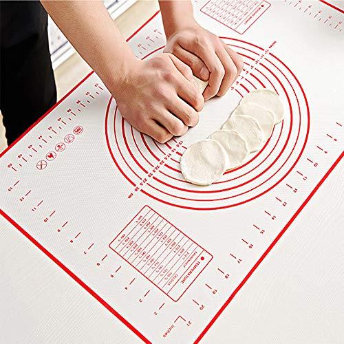 GSY Backmatte aus Silikon, extra dick, antihaftbeschichtete Backmatte mit Messung, Fondant-Matte, Gegenmatte, Teigroller, Backmatte, Backofeneinsatz, Tortenunterlage rot