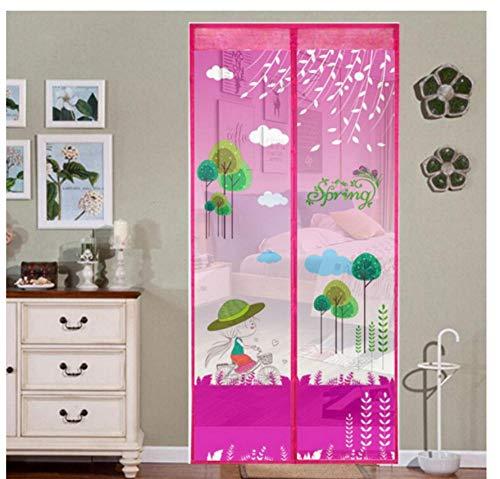 Gordijn sluit het meisje onder de roze boom met witte wolken Home magnetische gordijnen klamboe op deur raam net met magnetische bescherming tegen insecten zomer W80xH210cm(31.5 * 82.7 inch)