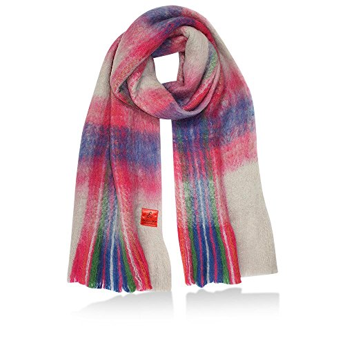 Erfurt Damen Checked Blanked Scarf, Blue, (BxL) 200 x 35 cm