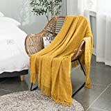ALPHA HOME Acrylic Bed Throw Blanket for Couch Sofa 50'x60' Soft Warm Lightweight Durable Fringe Glitter Blanket Decorative Throw with Vivid Color Machine Washable, for All Seasons Mustard Yellow