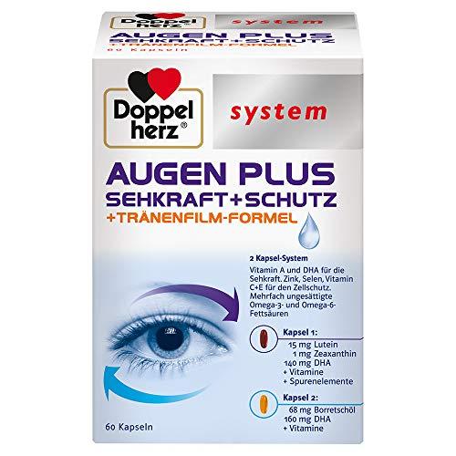 Doppelherz system AUGEN PLUS SEHKRAFT + SCHUTZ – Mit Vitamin A und der Omega-3 Fettsäure DHA als Beitrag für den Erhalt der normalen Sehkraft – 60 Kapseln