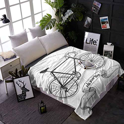 Bicycle Chunky Knit Blanket Ride Your Bike Lettering with Nostalgic Mountain Bike Hand Drawn Sketchy Super Plush Blanket 50'x65' Charcoal Grey White