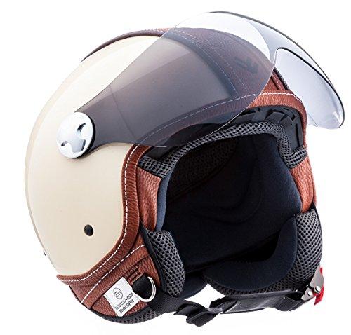 ARMOR Helmets AV-84 Casco Moto Demi Jet, Beige/Vintage Deluxe Beige, S (55-56cm)