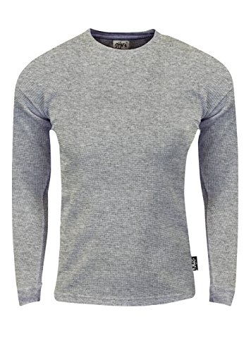 Fitscloth Men's Knit Sweater Pullover - Heavyweight Waffle Thermal T Shirt Long Sleeve Crewneck Knitted Top Size TC05 H.Grey L