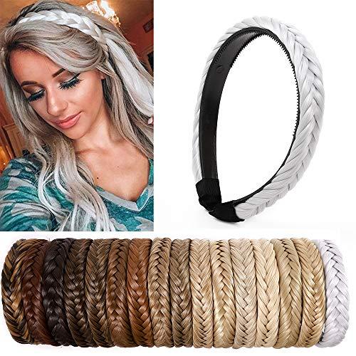 SEGO Extensiones de Cabello Diademas Trenzadas Elásticas Mujer Pelo Sintético Se Ve Natural Accesorios Fishtail Braided Hair Headband Head Hoop [Gris Plateado]