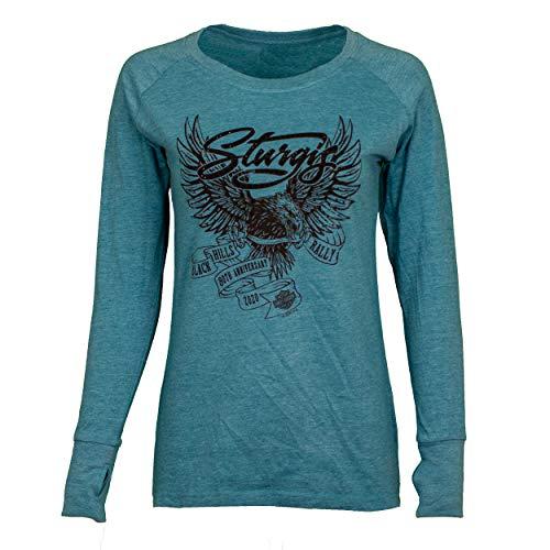 Harley-Davidson Women's Sturgis 2020 American Eagle 80th Rally Long Sleeve Shirt (2XL) Blue