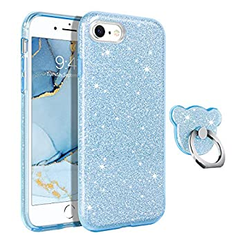GUAGUA iPhone SE 2020 Case iPhone 8/7 Cases Glitter Sparkle Bling Shiny Cute Hybrid Cover for Girls Women with Extra Finger Ring Kickstand Shockproof Protective Phone Case for iPhone SE 2020/8/7 Blue