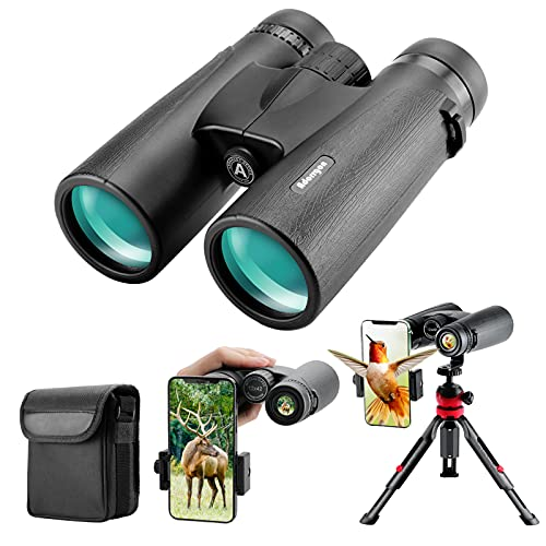 12x42 Roof Prism Binoculars for Adults - Professional HD Binoculars for Birds Watching Hunting Concerts with Clear Weak Light Vision - BAK4 Prism FMC Lens with Strap Carrying Bag (1.1 pounds)