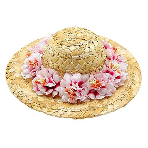 Ropa para Mascotas- Flor de Mascota Sombrero de Paja Perro Primavera Verano Sombrero para el Sol Sombrero de Paja Tejido Lindo Accesorio Disfraz Talla S (Flor Rosa, Estilo Aleatorio del cordn)