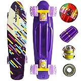 Runyi 22 Inch Complete Plastic Mini Cruiser Retro Skateboard with Colorful LED Light PU Wheels for Girls Boys Kids Adult Teens Beginners