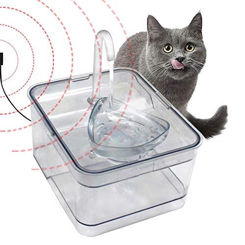 QueenHome Haustier Trinkbrunnen Für Katzen 2.6L Katzenbrunnen Haustier Wasserbrunnen Intelligente Infrarot-Induktion Elektrisch Automatischer Elektrischer Wasserspender Blumentrinkbrunnen